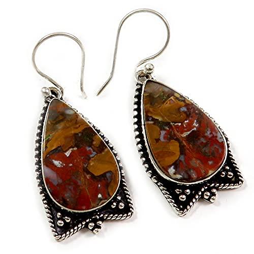 Goyal Crafts GEQ51 - Pendientes de piedra preciosa natural plateado plata ágata húngara