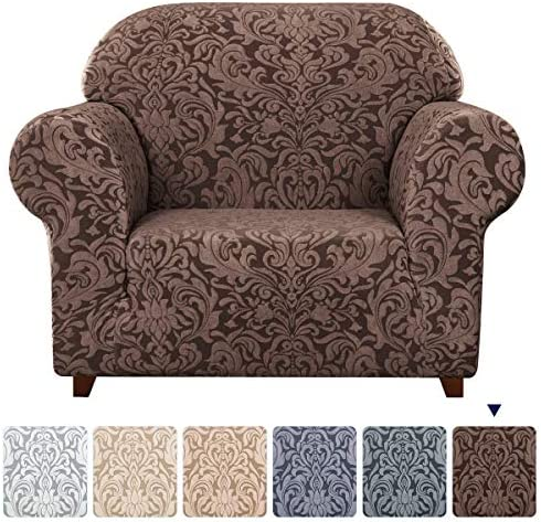 Best subrtex Sofa Slipcover 1-Piece Jacquard Damask Couch Cover High Stretch Furniture Protector for Armc