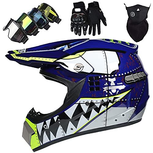 Juegos Cascos Moto NiñOs Blue Shark Casco MTB Cara Completa Adultos & JóVenes Casco Unisex Motocross para Bicicleta BMX ATV Offroad Quad Bike