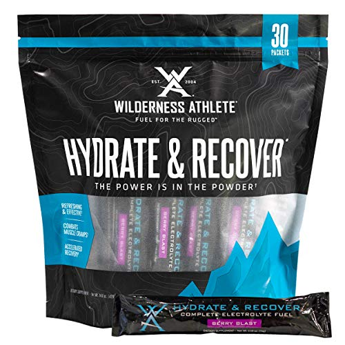 Wilderness Athlete: Hydrate & Recover, Powder Electrolyte Drink Mix, Berry Blast, 30Count Single Serving Packets, Recover Faster with Bcaas, Boost Immune System with 1000mg of Vitamin C