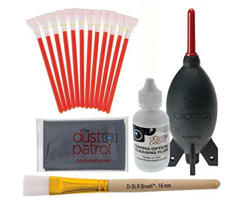 Digitalkamera Reinigungsset mit The Dust Patrol Sensor Swabs Alpha + The Dust Patrol Gamma Sensorreiniger für Kameras mit 1,6x ( APS-C) Sensorgröße (nahezu alle digitalen Reflexkameras, die keinen Vollformatsensor haben). Das Kit enthält auch einen Giottos Blasebalg AA1900 - der beliebteste Blasebalg bei Fotofreunden und einen The Dust Patrol D-SLR-Brush - der meistgekaufte Sensorreinigungspinsel bei Fotofreunden.