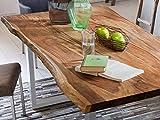 SAM Baumkantentisch 140x80 cm Quarto, nussbaumfarbig, Esszimmertisch aus Akazie, Holz-Tisch mit Silber lackierten Beinen - 4