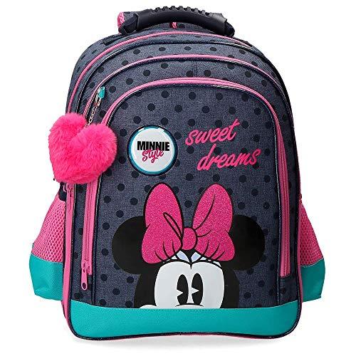 Disney Sweet Dreams Minnie Mochila Escolar Doble Compartimento, color Azul