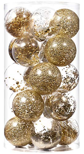 Christmas Ball Ornaments 80mm/3.15' Shatterproof Clear Plastic Xmas Decoration Tree Balls for Holiday Festivals Party Decorations((20 Counts, Gold)