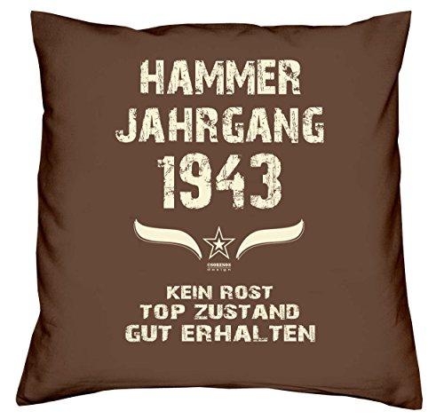 Sofakissen Dekokissen inkl. Füllung & Urkunde Geschenkidee zum 77ten Geburtstag Hammer Jahrgang 1943 Kissenbezug 100% Baumwolle Farbe: braun
