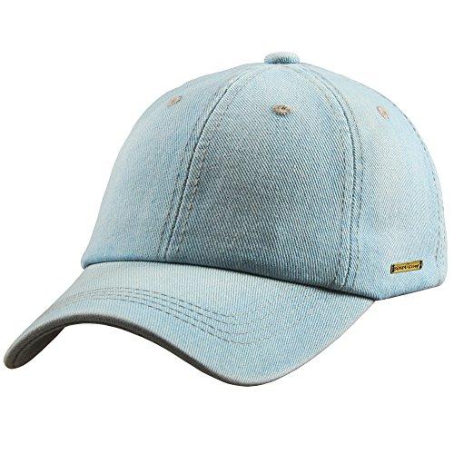 Sidiou Group Cappello da Baseball da Uomo Denim Jeans Casual di Colore Solido Lavato Cappello di Cotone Cappelli in Bianco Cappello Sportivo Sun cap (Stile 1-Azzurro)