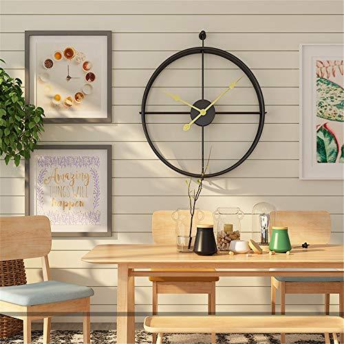 Moderne 20-inch ronde metalen frame muur klok Art Deco batterij bediende kwarts klok - geen tweede hand/geen nummer - Cafe Loft Hotel Bar Office woonkamer slaapkamer K