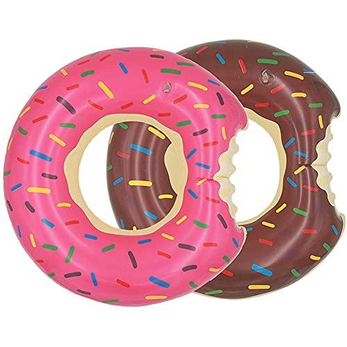 Aufblasbar Donut Schwimmring, 2PCS Aufblasbar Ring Luftmatratze Reifen Schwimmreifen für Erwachsene und Kinder, für Party, Pool, Strand-80cm