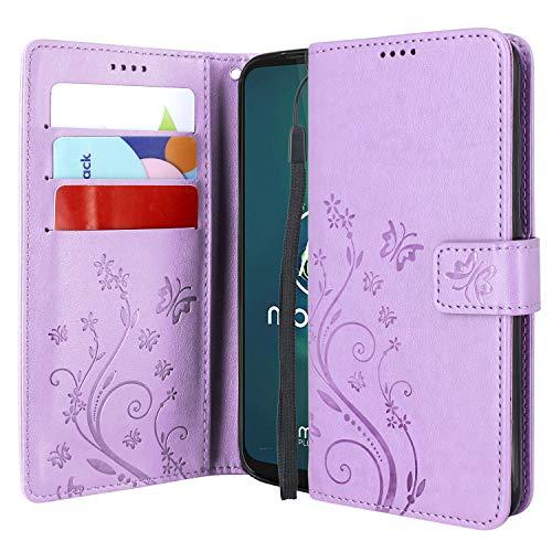 CMID Motorola Moto G8 Plus Hülle, Ständer PU Leder Brieftasche Handytasche Flip Bookcase Schutzhülle Cover mit Handschlaufe für Moto G8 Plus (Violett)