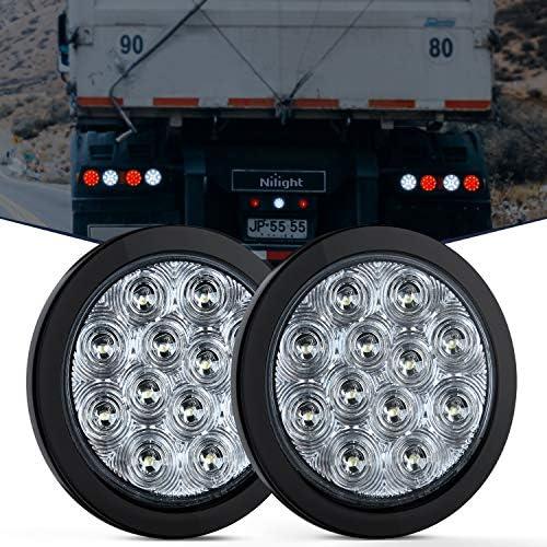 Nilight 2PCS 4 White Round LED Reverse Back Up Light w Surface Mount Grommet Plugs Trailer Tail product image