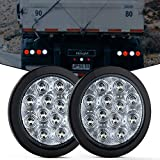 Nilight 2PCS 4' White Round LED Reverse Back Up Light w/Surface Mount Grommet Plugs Trailer Tail Lights for Truck Trailer RV Jeep, 2 Years Warranty (TL-26)