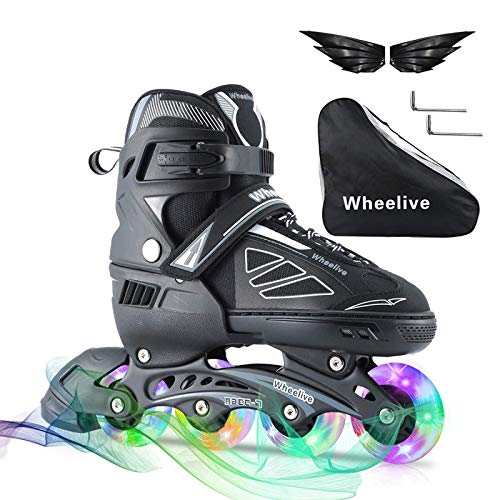 Wheelive Inline Skates for Kids Adults with Light Up Wheels Adjustable Beginner Skates for Girls and Boys, Men and Women Fun Roller Blades for Indoor Outdoor Backyard Skating