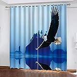WLHRJ Cortina Opaca en Cocina el Salon dormitorios habitación Infantil 3D Impresión Digital Ojales Cortinas termica - 234x138 cm - Águila Animal
