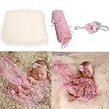 Josopa Accesorios para fotografía de bebé recién nacido, manta mullida para envolver fotografía con diademas, tela elástica larga ondulada