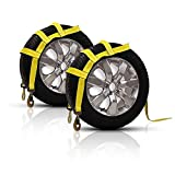 ALAVENTE Tow Dolly Basket Straps with Flat Hook for Small to Medium Size Tie Down Bonnet Wheel Ratchet Net 12000 lbs Breaking Strength (2 Packs)