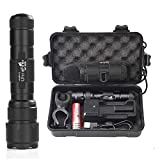 UltraFire WF-502B LED Tactical Flashlight, 5 Modes 1000 High Lumens Flashlight Torch with Duty Belt Flashlight Holster, Rechargeable Battery, USB Battery Charger, Bicycle Mount