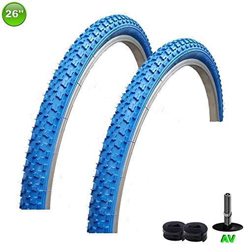 2 x maxxi4you Fahrradreifen Mantel Decke 26 x 1,75-47-559 Blau + 2 Schläuche AV