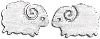 silver sheep earrings