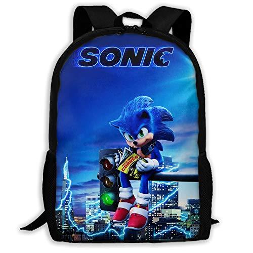 Sonic Boys and Girls Adult School Backpack, Travel Schoolbag,Big Bookbag (One Size,Black)