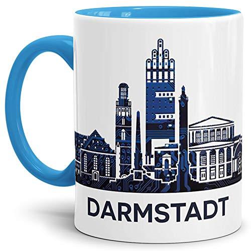 Tassendruck Darmstadt-Tasse Skyline - Kaffeetasse/Silhouette/Souvenir/Städte-Tasse/Becher/Cup/Mug/Beste Qualität - 25 Jahre Erfahrung - Innen & Henkel Hellblau