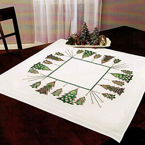 Kamaca - Kit per ricamo a punto croce, motivo albero di Natale, predisegnato, per tovaglia centrotavola, 80 x 80 cm, in cotone