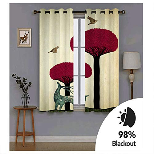 KnBoB Black Red Green Deer Animal with Trees and Birds Curtains Polyester Bedroom Curtains Blackout Set Size 264x274CM