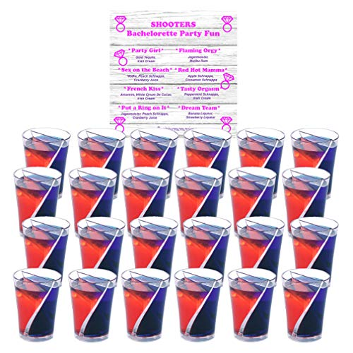 Bachelorette Party Split Shot Glasses Spilt Shooters Reusable Clear Plastic Shot Cup – 24 With 1 - Bachelorette Recipe Coaster
