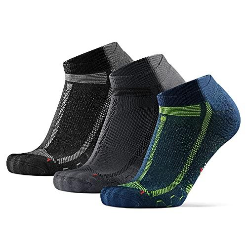 DANISH ENDURANCE Long Distance Low-Cut Running Socks for Men & Women (Mehrfarbig (1x Schwarz/Grau, 1x Blau/Gelb 1x Grau/Schwarz), 39-42)