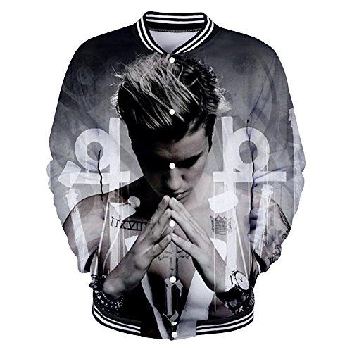 CTOOO 2018 Damen Und Herren Justin Bieber 3D Druck Sweatshirt Baseball-Uniformen Für Männer Und Frauen