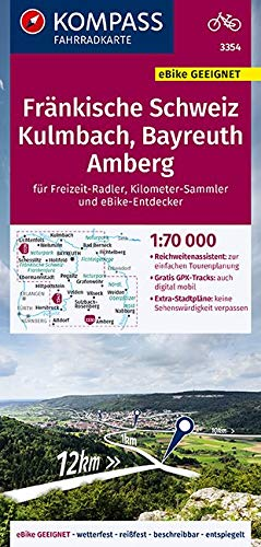 KOMPASS Fahrradkarte Fränkische Schweiz, Kulmbach, Bayreuth, Amberg 1:70.000, FK 3354: reiß- und wetterfest mit Extra Stadtplänen (KOMPASS-Fahrradkarten Deutschland, Band 3354)