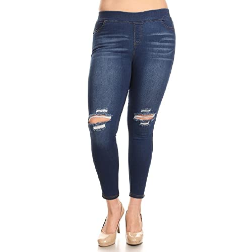 91ea74672e1 Jvini Women s Pull-On Ripped Destroyed Stretch Skinny Denim Jeans Plus Size  (1X-