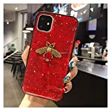 Glqwe Coque de téléphone d'abeille pour iPhone 12 Mini Pro Max 6 7 8 11 S Plus X S XR Max Glitter...