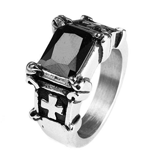 lamuch Trabaje Cruz de acero inoxidable Diseño Inlay piedras preciosas anillos para hombre, 3piedras preciosas–Colores elegir (Lila, Negro, Rojo)