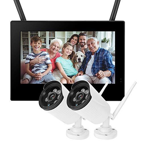 zcyg Cámara Cámara de vigilancia Cámara de Seguridad Cámara Inalámbrica, 10in 1.3MP HD WiFi Inalámbrico Monitor De Bebé 2 Cámaras Sistema De Seguridad Doméstica DVR Inteligente US 110-240V