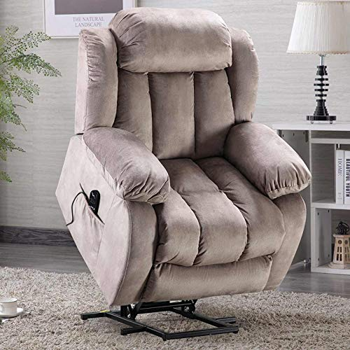 ANJ HOME Power Lift Recliner Chair with Massage & Heat & Vibration for Elderly, Heavy Duty and Safety Motion Reclining Mechanism - Antiskid Fabric Sofa Contempoary Overstuffed Design, Camel