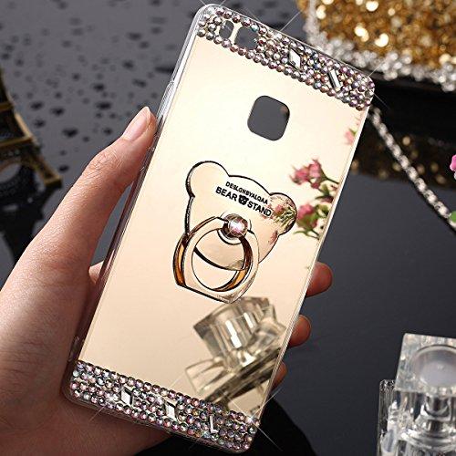 Funda Huawei P9 Lite,Carcasa Huawei P9 Lite,[Oso Soporte titular] Cristal brillante Brillo...
