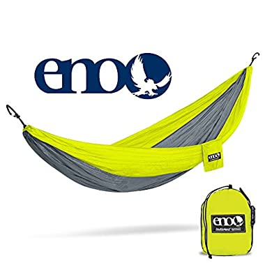 Eagles Nest Outfitters ENO DoubleNest Hammock, Portable Hammock for Two, Neon/Grey