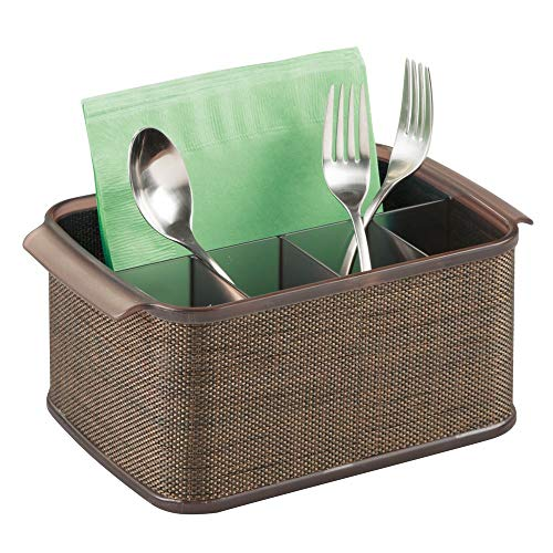 mDesign Plastic Cutlery Storage Organizer Caddy Tote Bin with Handles for Kitchen Cabinet or Pantry - Holds Forks, Knives, Spoons, Napkins - Indoor or Outdoor Use, Woven Accent - Bronze/Sand Brown