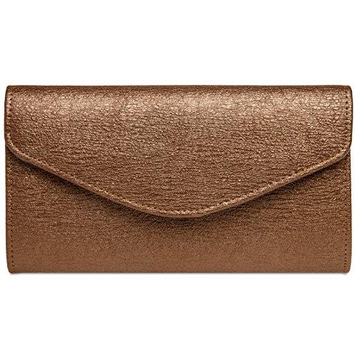 Caspar TA432 elegante Damen Envelope Clutch Tasche Abendtasche mit langer Kette, Größe:One Size, Farbe:kupfer
