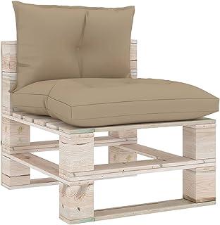 vidaXL Cojines para Sofás de Palés 2 Piezas Casa Hogar Sillas Asientos Salón Comedor Terraza Exterior Muebles Mobiliario Tela Beige