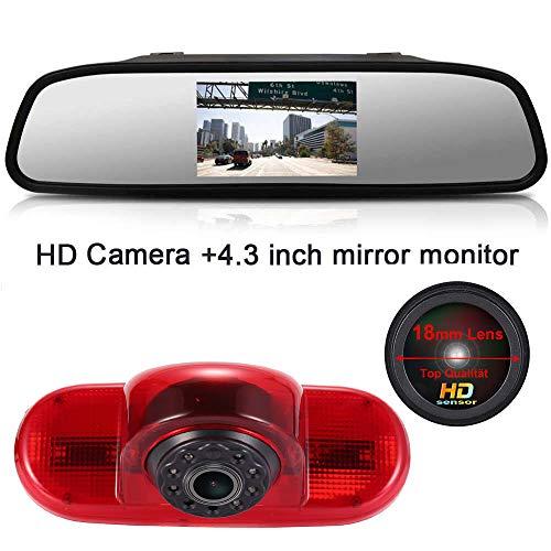4.3 Zoll Rückspiegel Monitor + 1280*720 Pixel 1000TV Linien HD Nachtsicht Bremsleuchte Rückfahrkamera für Fiat Talento/Renault Trafic/Nissan Primastar/Opel Vivaro Surf Concept/Life/Combo/Vauxhall