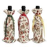 3 fundas para botellas de vino de Navidad, diseño de Torre Eiffel en 3D, con botellas de vino de postre, bolsas de decoración para Navidad, fiesta de Año Nuevo, cena de cumpleaños