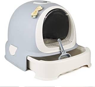 Cat Litter Box, Fully Enclosed Cat Toilet Front Entry Odor Close Door Cat Litter Scoop Included,Gray