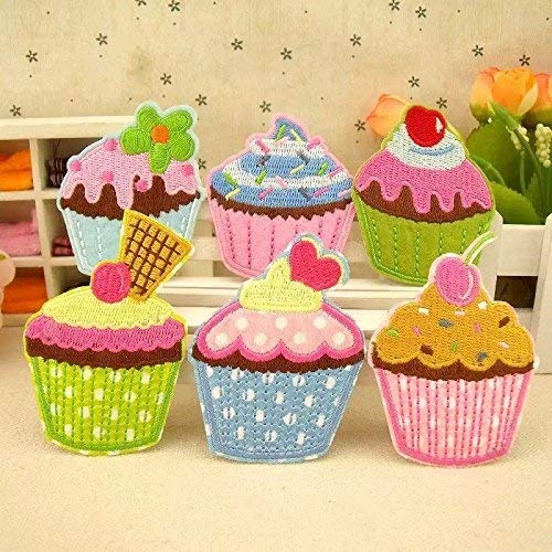 The Bestdeal 6PCS Cupcake Design Iron on Patches for Kid's Hat,Cloth and Shoes
