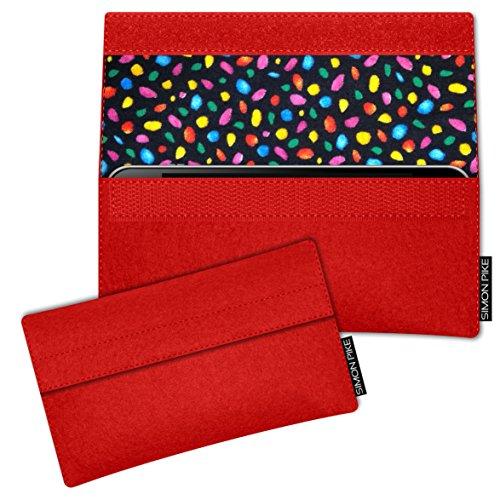 SIMON PIKE Hülle Tasche kompatibel mit Wiko Darkside   Filztasche Newyork in 13 rot aus Filz (echtem Wollfilz) Handyhülle