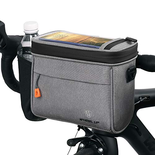 Welltop Bike Handlebar Bag, Waterproof Bicycle Handlebar Front Frame Storage Basket with Touch Screen Phone Holder Removable Shoulder Strap Mesh Pocket for Cycling Outdoor Activity, Capacity 4.2L
