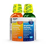Amazon Basic Care Daytime Severe and Nighttime Severe Cold and Flu Relief Combo Pack; Max Strength Cold and Flu Medicine For Aches, Sore Throat, Fever and Cough, 24 Fluid Ounces