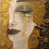 TELEGLO lágrimas de Oro Pinturas de Gustav Klimt Reproducción al óleo sobre Lienzo Pintado a Mano Hermosa Mujer Obra de Arte para decoración de Pared Alta Q 40X60CM