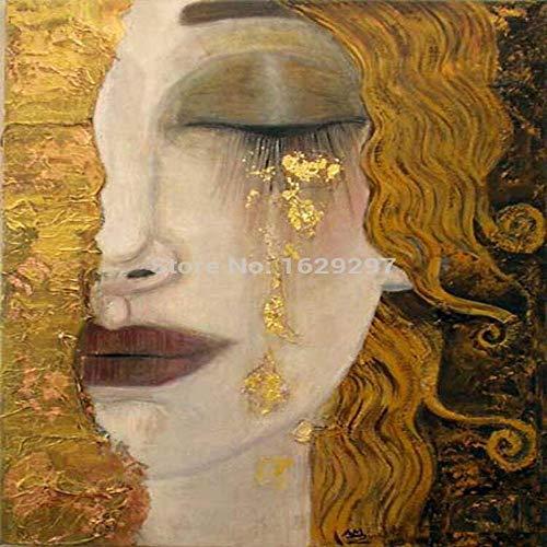 TELEGLO lágrimas Doradas Pinturas de Gustav Klimt Reproducción al óleo sobre Lienzo Pintado a Mano Hermosa Mujer Obra de Arte para decoración de Paredes Alta Q 30X40 CM