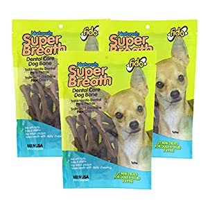 Fido Super Breath Dental Care Bones For Dogs, Made With Kelp, Parsley and Chlorophyll – Naturally Freshens Breath, Reduces Plaque and Whitens Teeth – 21 Mini Treats Per Pack, Pack of 3